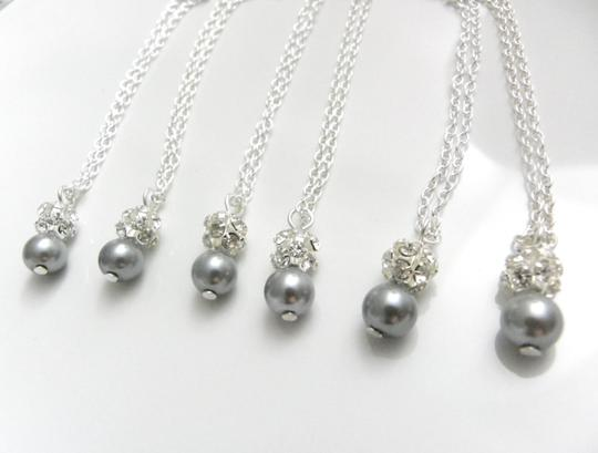 Grey Pink Cream White Of 6 Necklaces and Earrings Of Bridesmaid Necklaces Jewelry Set