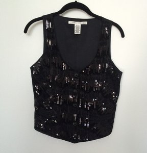 Diane von Furstenberg Vest Sequins Formal Top Black