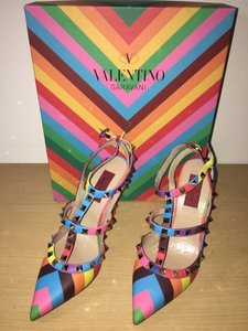 Valentino Studded Leather Slingback Multi Color Pumps