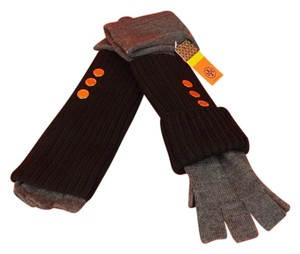 Tory Burch DARK GRAY MELANGE BLACK WOOL KNIT LONG CAREY GOLD BUTTONS GLOVES