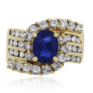 Other 14k Yellow Gold Oval Sapphire Diamond Ring
