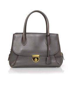 Salvatore Ferragamo Leather Gold Hardware Tote in Grey