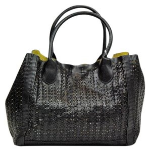 Steve Madden Basket Weave Citron Perforated Tote in Black