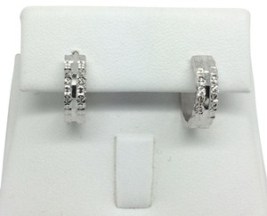 Other 18K Solid White Gold Diamond Cut Huggie Hoop Earrings