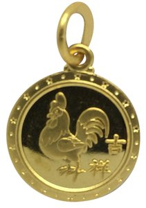 24K Solid Gold Round Roster Pendant for Year 2017