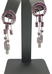 14K White Gold Dangling Sapphire and Ruby Earrings