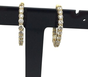 14K Yellow Gold Nice Quality Natural Diamond All Around Hoop Earrings