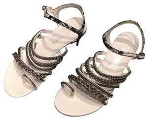 Chanel Blk/white/silver Sandals