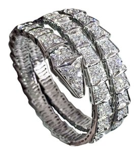 BVLGARI Bulgari SERPENTI Bracelet White Gold Full Pave Diamond Size: M