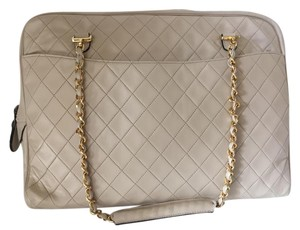 Chanel Quilted Vintage Gold Laptop Shoulder Bag