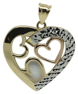 Other 14K Tri-Color Gold Diamond Cut Layers Heart Pendant