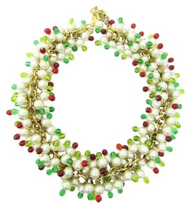Chanel Vintage '80s Red and Green Beads with Pearl Cluster Necklace, Choker
