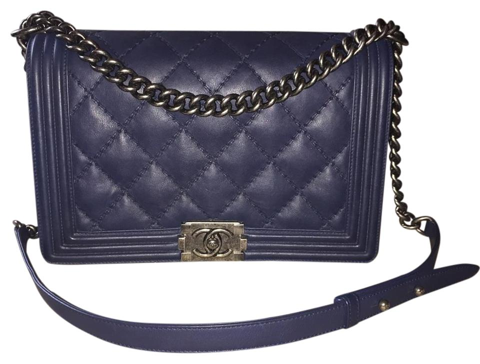 eee496c658a596 Chanel Boy Rare Navy New Medium Marine Flap Calfskin Calf Quilted Stitch Cc  A92107 14c Blue Leather Cross Body Bag