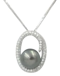 Other 1 Tahitian Black Pearl & Diamond Pendant Slider on a White Gold Chain
