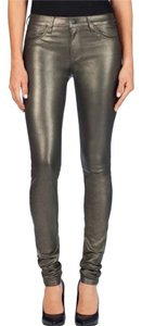 J Brand Leather Black Midrise Jeans Skinny Pants Gold