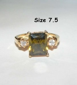 Emerald Cut Green Zircon Fashion Ring Free Shipping