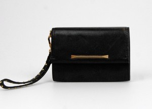 Brian Atwood Leather Studded Wrist Strap Black Clutch