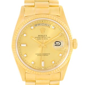 Rolex Rolex President Day Date Mens 18k Yellow Gold Diamond Watch 18038