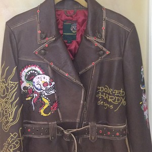 Ed Hardy Brown Leather Jacket