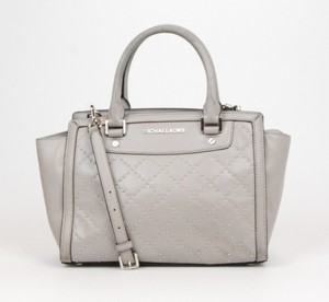Michael Kors Mk Selma Leather Stud Satchel in grey