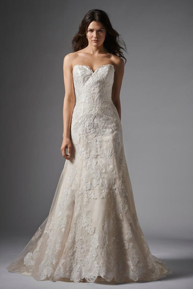 Wtoo Oatmeal Lace Christy Modest Wedding Dress Size 12 (L) 50% off retail