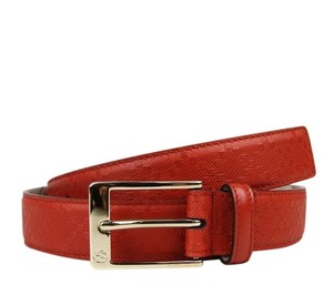 Gucci Diamante Leather Square Buckle Orange Red Belt 90/36 345658 6516