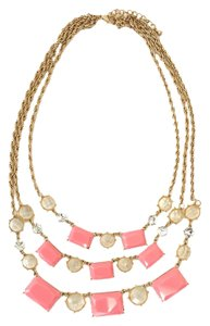 Pink & Gold Multi-Strand Jeweled Necklace