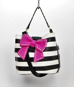 Betsey Johnson Striped And White Bow Shoulder Bag