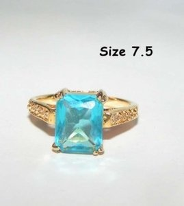 Yellow Gold Bogo Free Blue Topaz Fashion Free Shipping Ring