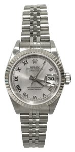 Rolex Rolex 26MM Lady-Datejust Stainless Steel Rhodium Roman Dial 18K White Gold Fluted Bezel Jubilee Bracelet Vintage