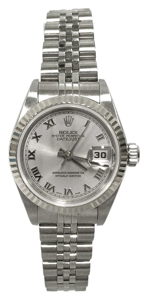 474efe02a4b Rolex Rolex 26MM Lady-Datejust Stainless Steel Rhodium Roman Dial 18K White Gold  Fluted Bezel ...
