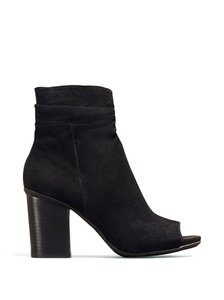 Kenneth Cole Peep Toes Ankle Leather Suede Slouch Sexy Black Boots