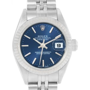 Rolex Rolex Datejust Ladies Steel 18k White Gold Blue Dial Watch 79174