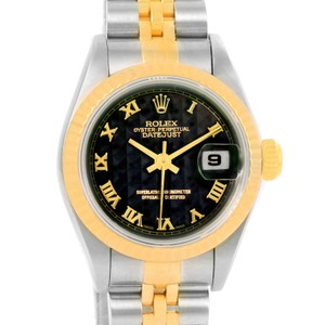 Rolex Rolex Datejust Ladies Steel Yellow Gold Black Pyramid Dial Watch 69173