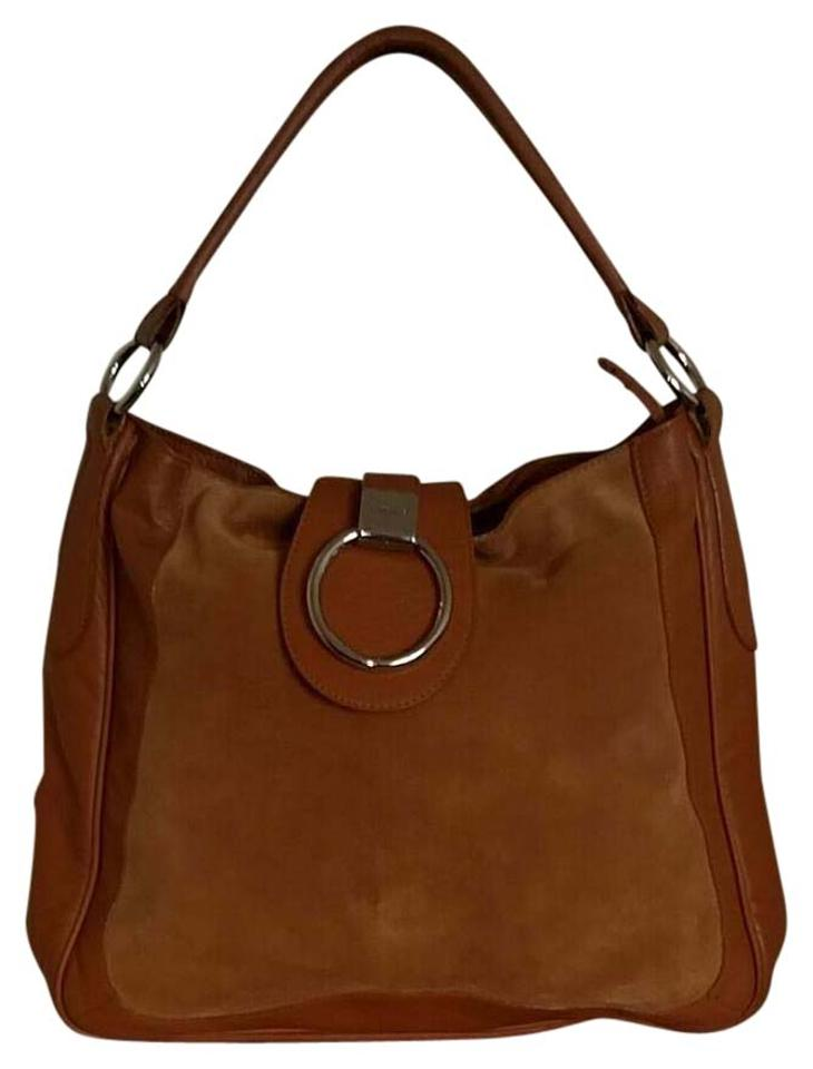 629ea6a325ac Furla Aretha Medium Slouch Hobo Brown Leather Suede Shoulder Bag ...