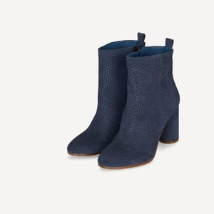 Maje Leather Ankle Luxury Navy Blue Boots