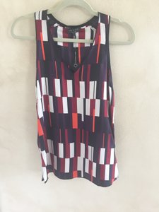 Rag & Bone Silk Racerback Multicolored Top Purple, Red, Maroon, Cream, Black