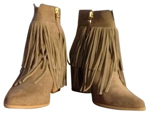 Betseyville by Betsey Johnson Suede Fringe Cowboy Heel Taupe Boots