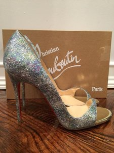Christian Louboutin Toboggan Glitter Stiletto Open Toe silver Pumps