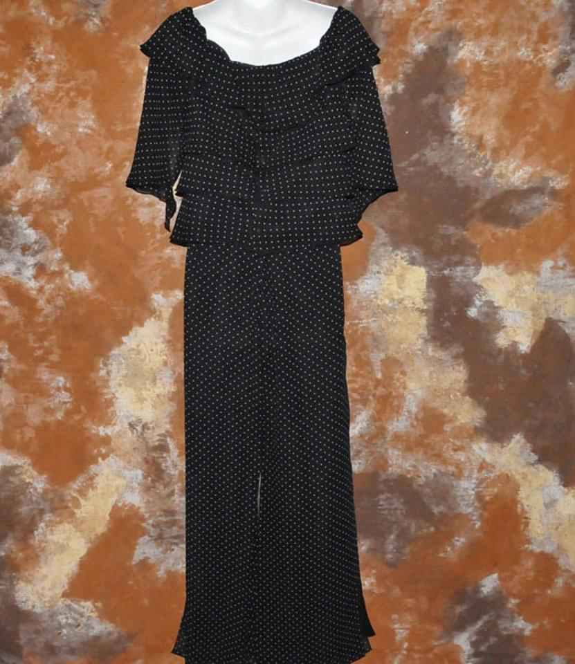 Black with White Polka Dots Citrine 2 Pc Palazzo Pants Off Shoulder ...