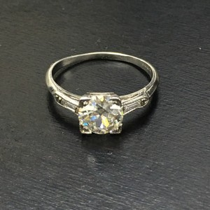 Art Deco 1.01ct Old European Cut Diamond & Baguette Diamond Platinum Engagement Ring