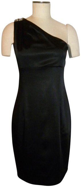 Calvin Klein Black One Shoulder with Rhinestone Mid-length Cocktail Dress Size 8 (M) Calvin Klein Black One Shoulder with Rhinestone Mid-length Cocktail Dress Size 8 (M) Image 1