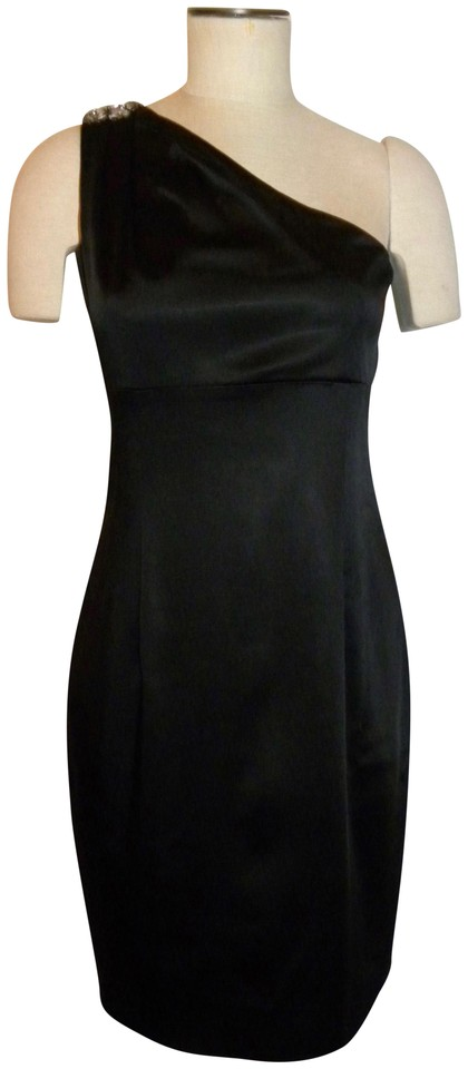 Calvin Klein Black One Shoulder With Rhinestone Mid Length Cocktail