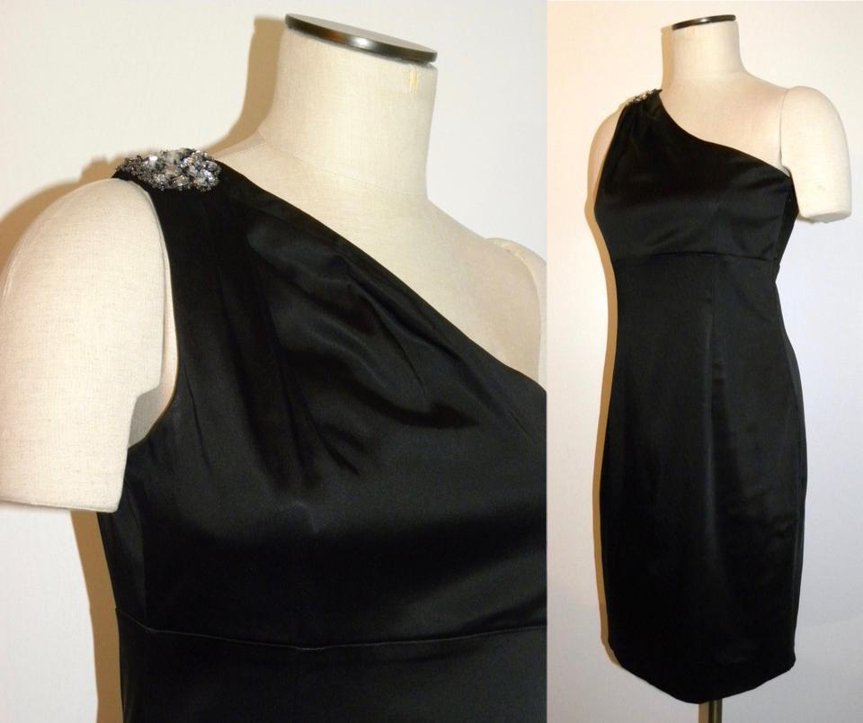 64f40c3057e Calvin Klein Black One Shoulder with Rhinestone Mid-length Cocktail ...