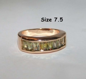 Baguette Peridot Fashion Ring Free Shipping