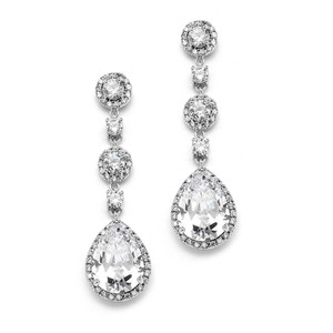 Mariell Pear-shaped Drop Bridal Earrings With Pave Cz 400e-cr