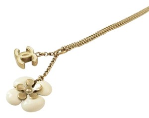 Chanel Chanel White Camelia CC Double Pendant Necklace