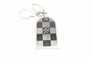 Louis Vuitton #6204 Double sided damier logo Keychain Charm Silver hardware