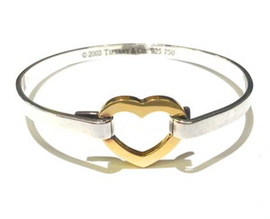 Tiffany & Co. Tiffany & Co Sterling Silver & 18K Gold Heart Bangle Bracelet