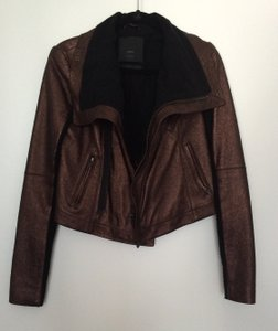 VEDA Metallic Leather Copper Leather Jacket